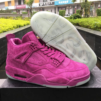 "KAWS x Air Jordan 4 ""purple"" Unisex Leather Basketball Sneaker"
