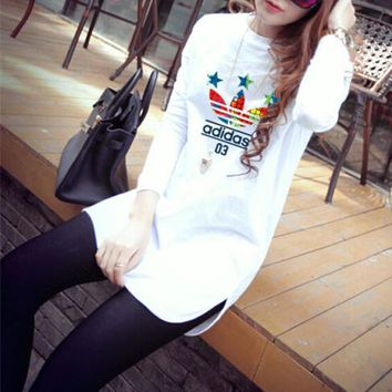 """""""Adidas"""" Women Simple Casual Letter Logo Five-pointed Star Print Long Sleeve T-shirt Irregular Bottoming Tops"""