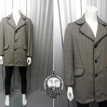 Vintage 60s Mod Mens Tweed Jacket Trench Coat Plaid Pattern Wool Overcoat Mens Outerwear Winter Coat Checked Fabric 1960s Mod Clothing
