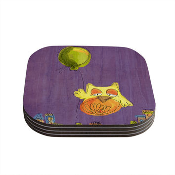 "Carina Povarchik ""Owl Balloon"" Purple Orange Coasters (Set of 4)"