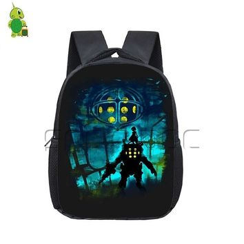 Anime Backpack School kawaii cute Big Daddy Outline Printing Backpack Children School Bags Boys Girls Kindergarten Toddler Backpack Kids Book Bags AT_60_4