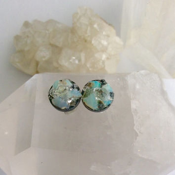 Opal Stud Earring With  Herkimer Diamonds// Rough Uncut Gemstone// Sterling Silver