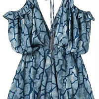 Blue Abstract Printed Spaghetti Strap V-Neckline Mini Romper