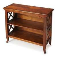 Newport Transitional Rectangular Low Bookcase Medium Brown