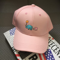 Pink Embroidered Elephant Baseball Cap Hat