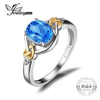 Jewelrypalace Love Knot 1.5ct Natural Blue Topaz Gemstone S925 Sterling Silver 18K Yellow Gold Ring Diamond Women Fine Jewelry