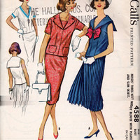 Retro 50s McCall's Sewing Pattern 4588 Middy Blouse Crop Top Drop Waist Dress Straight Pleated Skirt Sailor Collar Shirt Bust 34