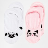 ASOS 2 Pack Cat and Pug Pop Socks