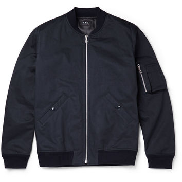 A.P.C. - Herringbone Cotton Bomber Jacket | MR PORTER