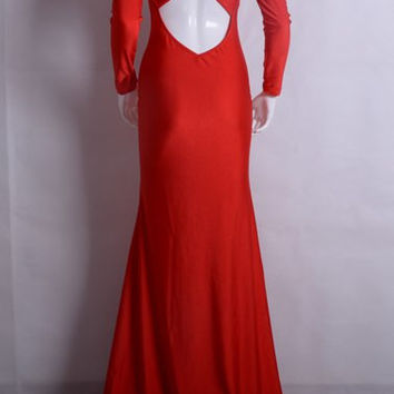 Red Long Sleeve Cross-back Fish Tail Maxi Dress