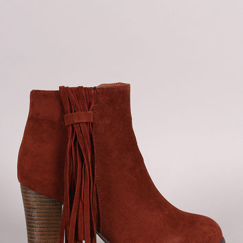 Qupid Side Fringe Tassel Booties