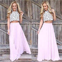 Pink Draped Floor Length High Waisted Casual Flowy Skirt