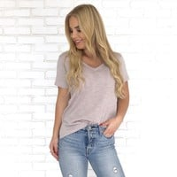 Mindy Basic V Neck In Mauve