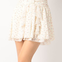 LIZ LISA Flower Chiffon Sukapan Skirt