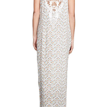 CROCHET LACE BACK DETAIL PRINTED MAXI DRESS