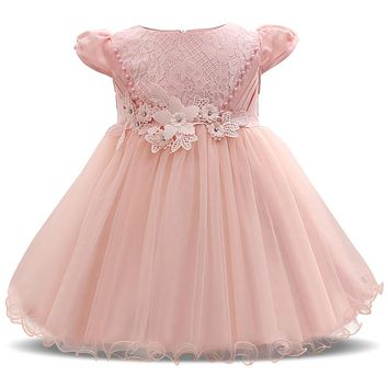 Super Cute Pink Princess Girl Dress Newborn Bebes Baptism Clothes Baby Girl 1 2 Years Birthday Dress Tutu Infant Party Vestido