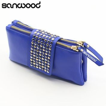 2016 New Design Women Rivet Zipper Wallet Holder Card Coin Clutch Purse Wristlet Evening Bag Gifts