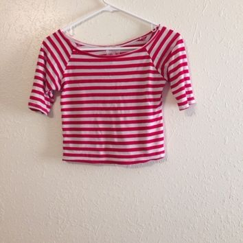 Red and white striped crop top.