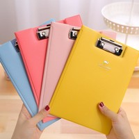 Candy color A5 Folder cute PU Leather paper folder for documents Korean stationery office school supplies zakka