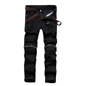 jeans skinny men hip hop jeans ripped Stretch Slim fashion black swag man casual denim biker pants overalls Jogger