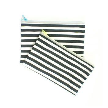 Zipper Pouch Set in Striped Canvas Black and White Organization Bags