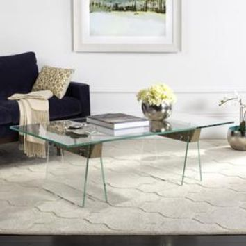 Shop Safavieh Modern Gray/Clear Glass Coffee Table at Lowes.com