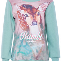 ROMWE | Bambi Print Green Sweatshirt, The Latest Street Fashion