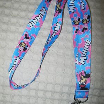 "Thick Pink and Blue Minnie Mouse 15"" Lanyard/Landyard ID Holder Keychain-New!!!"