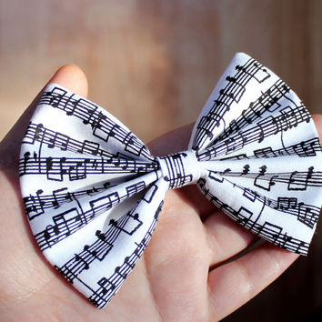 """4.5"""" Music hair bow, music notes hair bow, black and white bow, sheet music hair bow, hair bow for teens & women, hairbows for music lovers"""