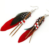Red Feather Jewelry Drop Earrings Dangle Earrings Bridal Jewelry Bridesmaid Gift Bridal Accessories Gift Set Brithday Gifts 09043304-255