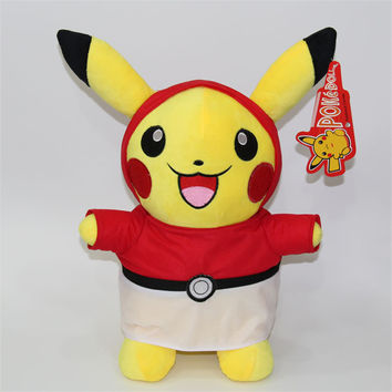 "[PCMOS] 2016 New Anime Pokemon Center Pikachu With Pokeball Dress 35cm/14"" Plush Toy Stuffed Doll  Arcade Prizes 16072617"
