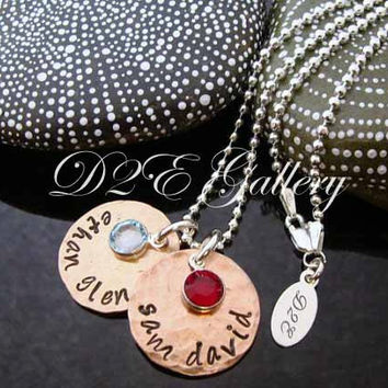HUGE SALE D2E hand stamped personalized lucky penny mothers necklace  with birthstones on sterling silver diamond cut ball chain