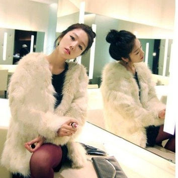 Lady womens winter luxury Ivory faux fur loosed jacket coat soft thick outwear = 1930214212