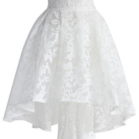 White Camellia Waterfall Mesh Skirt  White