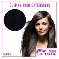 Jet Black Clip In Human Hair Extensions | clip in hair extensions