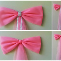 Coral Wedding Pew Bow, Coral Church Pew Bow,  Bridal Shower Bow, Anniversary Bow, Church Decoration