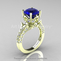Classic French 14K Green Gold 3.0 Ct Royal Blue Sapphire Diamond Solitaire Wedding Ring R401-14KGRGDBS