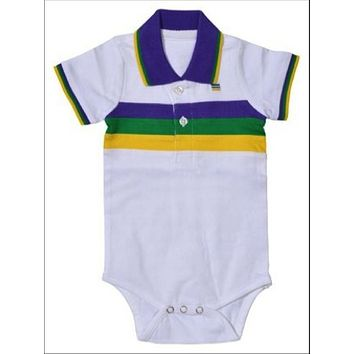 Mardi Gras Infant Woven Striped Collared Romper