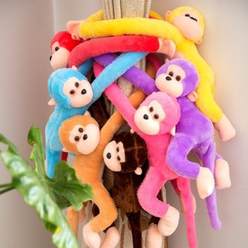 60/70/80cm Cute Long Arm Tail Monkey Soft Plush Doll Toy Baby Sleeping Appease Animal Monkey Home Decoration Curtains Hanging Do