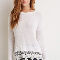 Scalloped Crochet-Trim Sweater