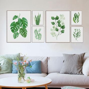 Watercolor Green Leaf Flowers Plant Cottage Canvas Print Poster Nordic Wall Picture Home Decor Painting No Frame