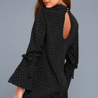 Etoile Black and White Polka Dot Long Sleeve Shift Dress