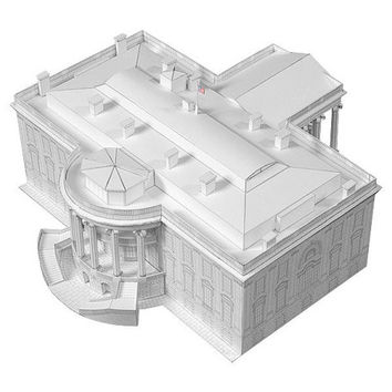 White House || office and residence of U.S. President || paper model kit || white color with a slightly shiny metallic overcoat