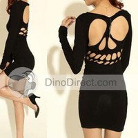 Women Cotton Skull Backless Long Sleeve Dresses - DinoDirect.com