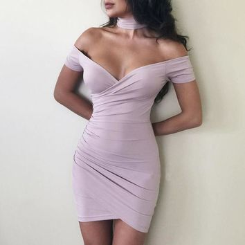 Women Off-Shoulder Irregular Bodycon Dress with Choker Neckline