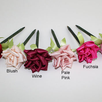Red Pink Rose Pen Ribbon Flower Wedding Reception Shower Guest Book Handmade Wine Pink Fuchsia Vintage Rose