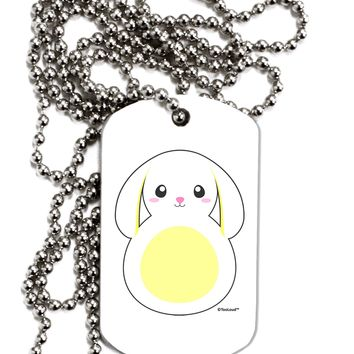 Cute Bunny with Floppy Ears - Yellow Adult Dog Tag Chain Necklace by TooLoud