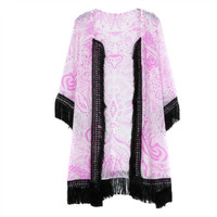 Pink Floral Print Fringed Sleeve Kimono