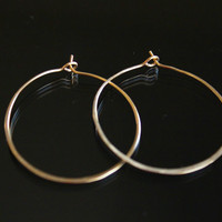 Solid Gold hoop Earrings, 14kt gold hoop earrings, Large, small different sizes available, artisan handmade earrings