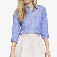 POLKA DOT CHAMBRAY ORIGINAL FIT SHIRT from EXPRESS
